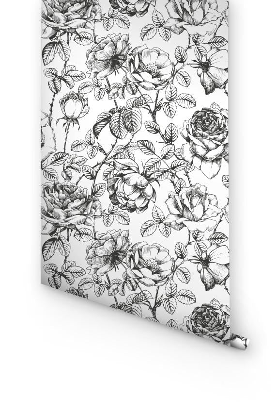 MONOCHROME ROSES WALLPAPER
