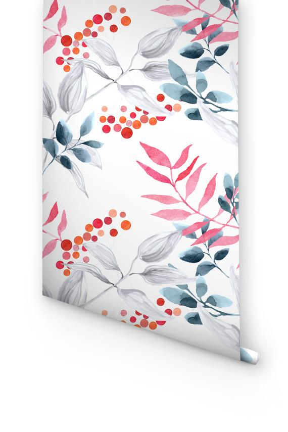 WATERCOLOR BOTANICAL REMOVABLE WALLPAPER FOR KITCHEN