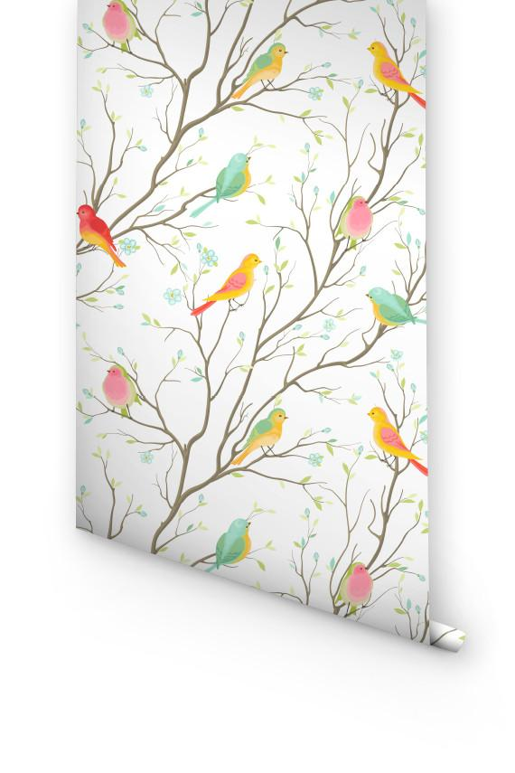 COLORFUL BIRDS REMOVABLE WALLPAPER