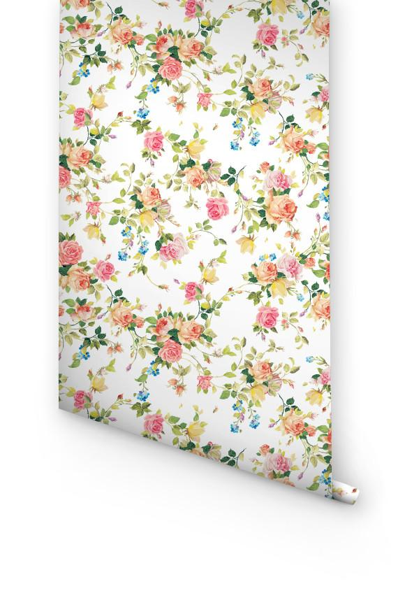 colorful GARDEN ROSE removable WALLPAPER