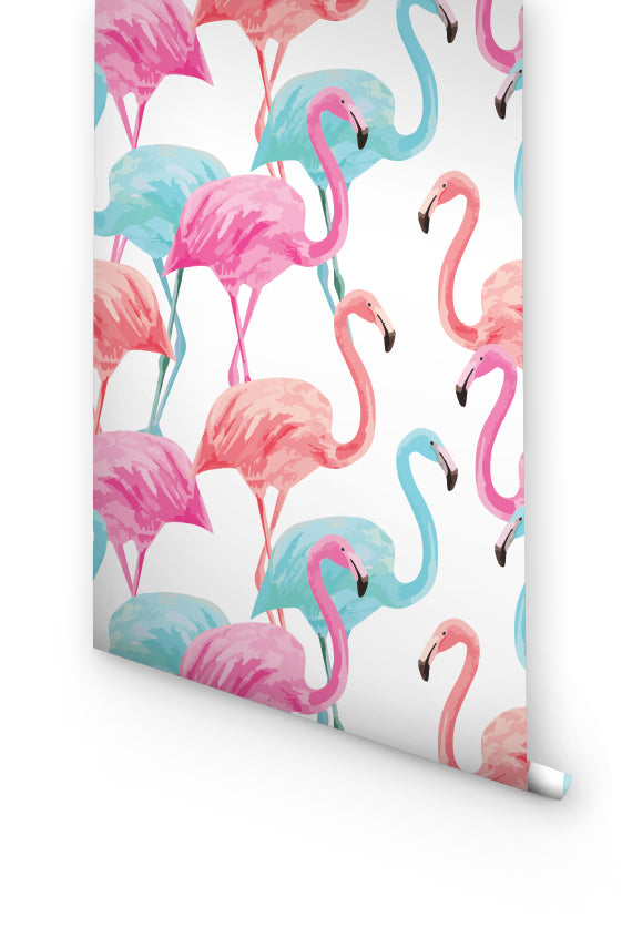PINK AND BLUE FLAMINGO REMOVABLE WALLPAPER