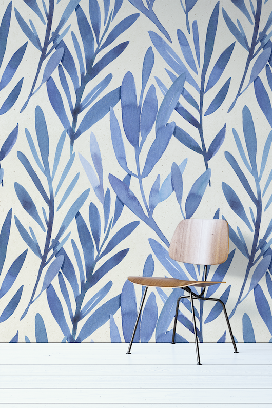 Blue Watercolor leaves Wall Mural