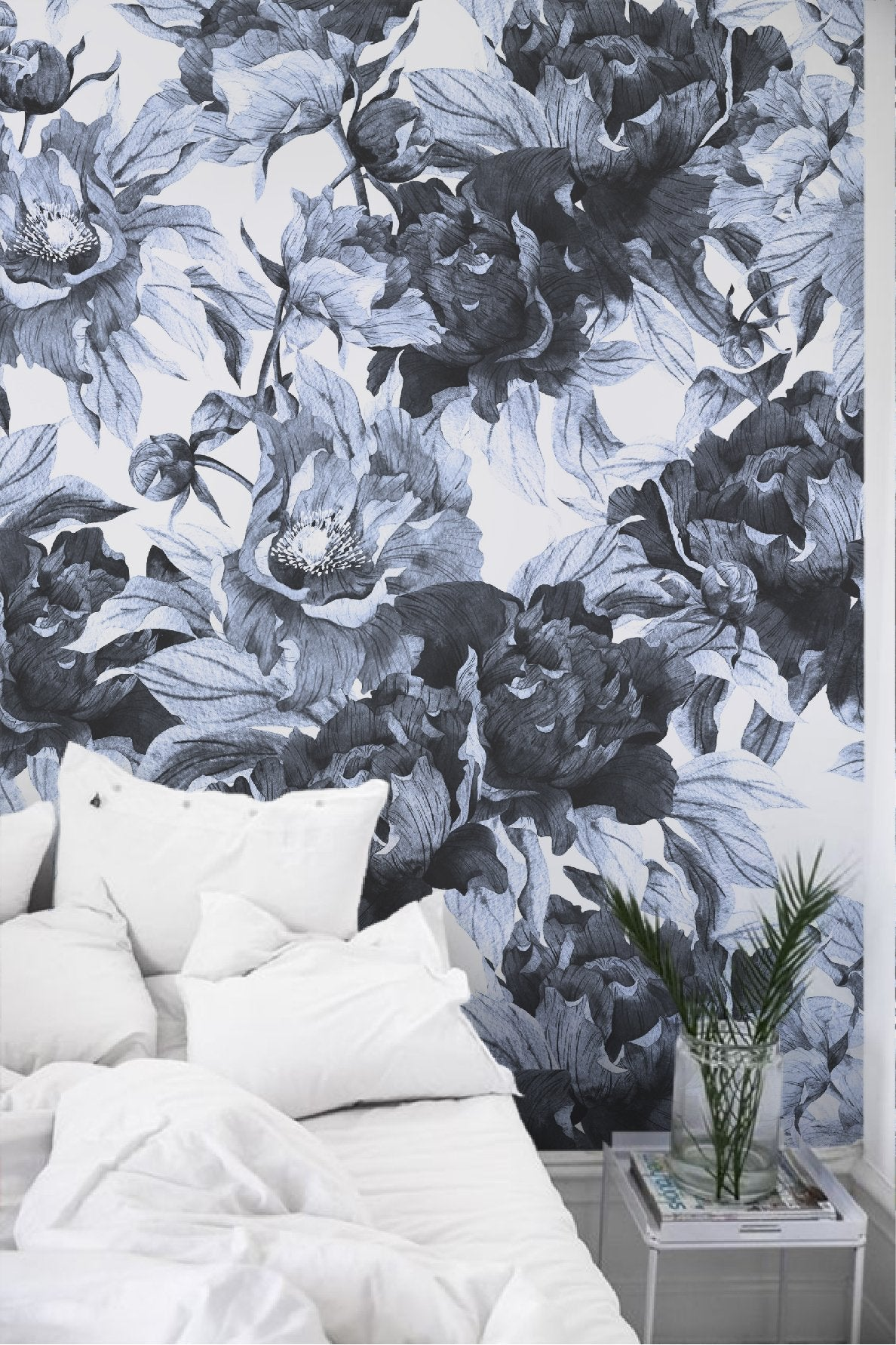 Blue Peonies Removable Wallpaper