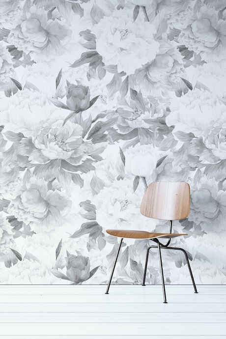 Black And White Floral Wallpaper Mural