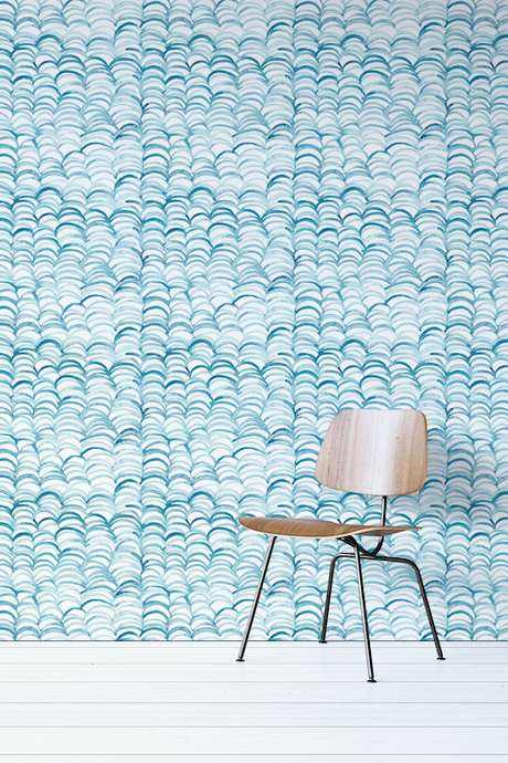 Blue Watercolor Waves Removable Wallpaper