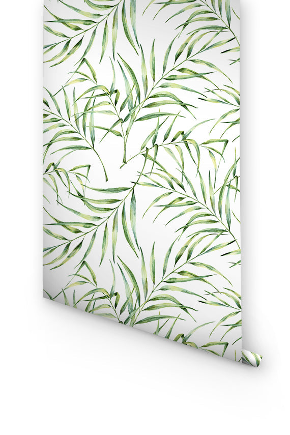 GREEN PALM LEAVES WALLPAPER FOR BEDROOM