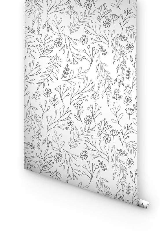 GREY FLORAL REMOVABLE WALLPAPER