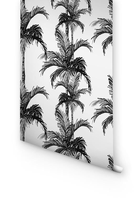 black and white palm trees removable wallpaper