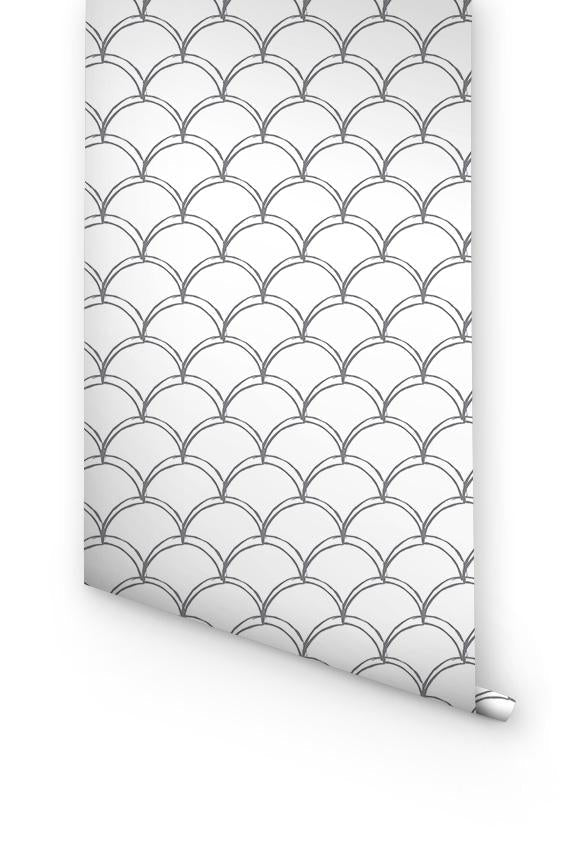 Grey Double Scallop Pattern Wallpaper