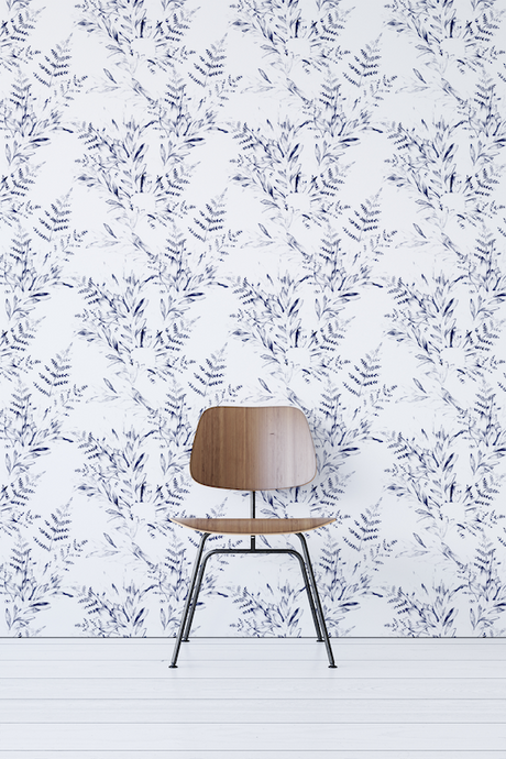 Blue Watercolor Floral Removable Wallpaper