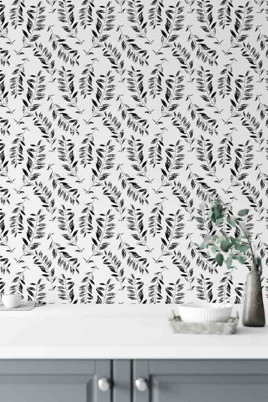 black and white leaves peel and stick wallpaper