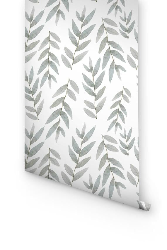 GREY BOTANICAL WALLPAPER FOR NURSERY