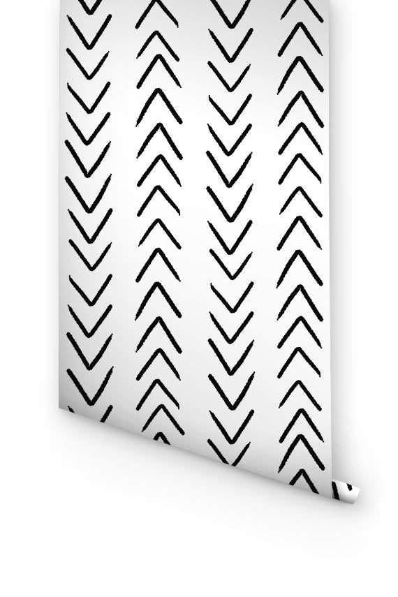 Black And White Herringbone Removable Wallpaper