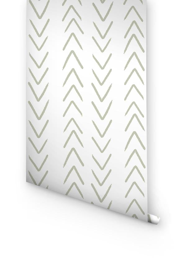 Sage herringbone removable wallpaper