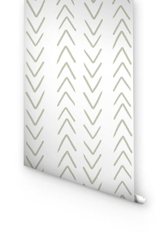 Sage herringbone wallpaper
