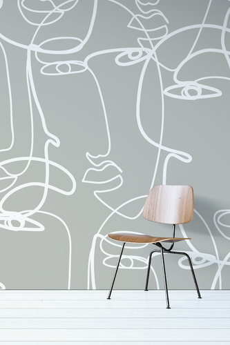 One Line Drawing Peel And Stick Wallpaper