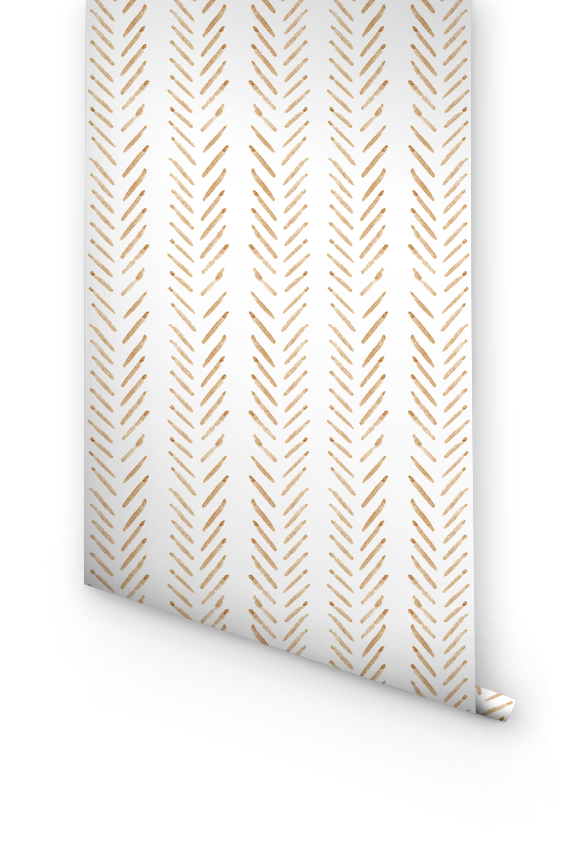Orange herringbone removable wallpaper