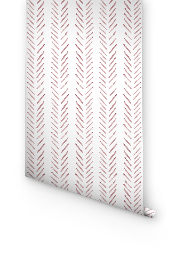 Pink herringbone removable wallpaper
