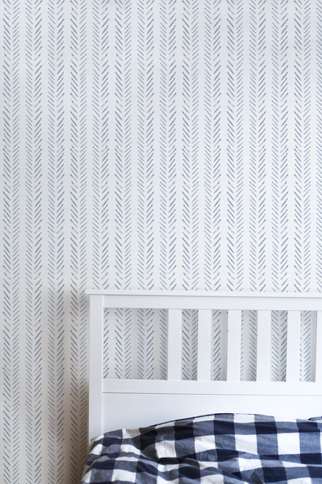 Blue herringbone removable wallpaper