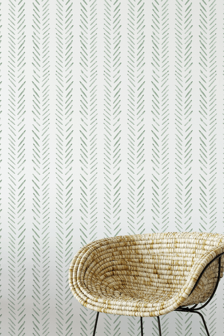 Sage green herringbone removable wallpaper