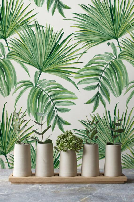 Exotic leaves hand drawn pattern temporary wallpaper let for Papel de pared lavable