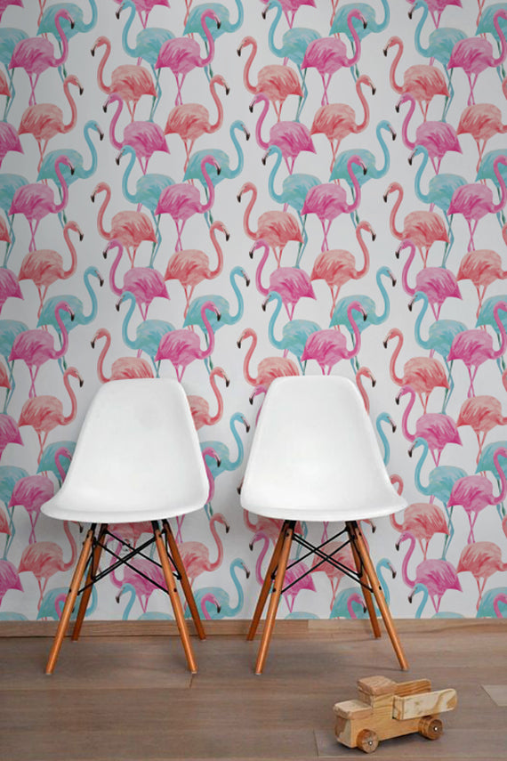Pink And Blue Flamingo Removable Wallpaper | Wallflorashop.com