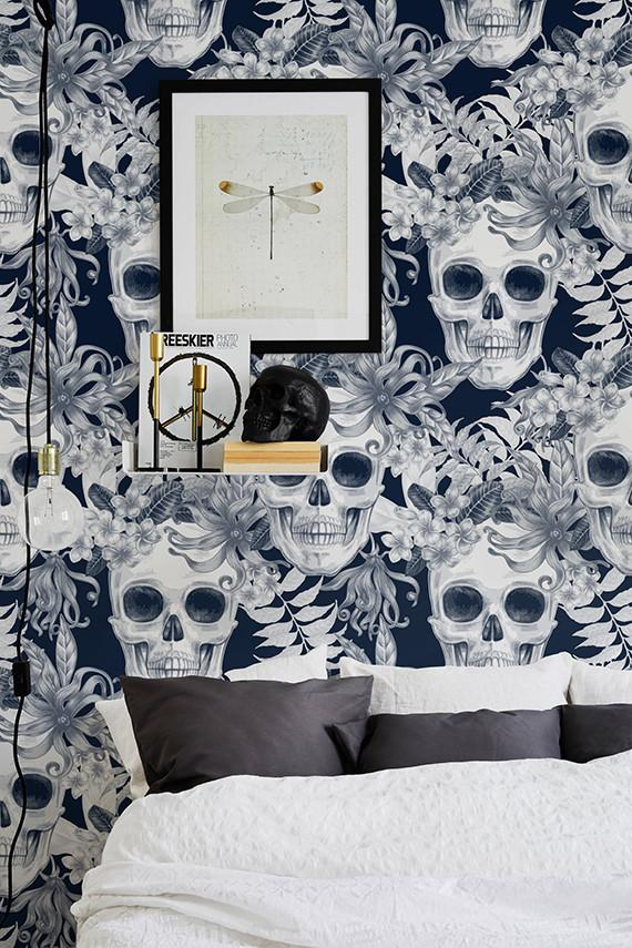 Hibiscus And Skull Self Adhesive Wallpaper Mystery In A New