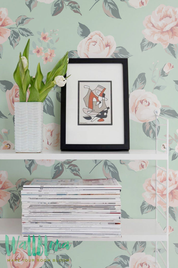 Pink Roses Removable Wallpaper For Nursery