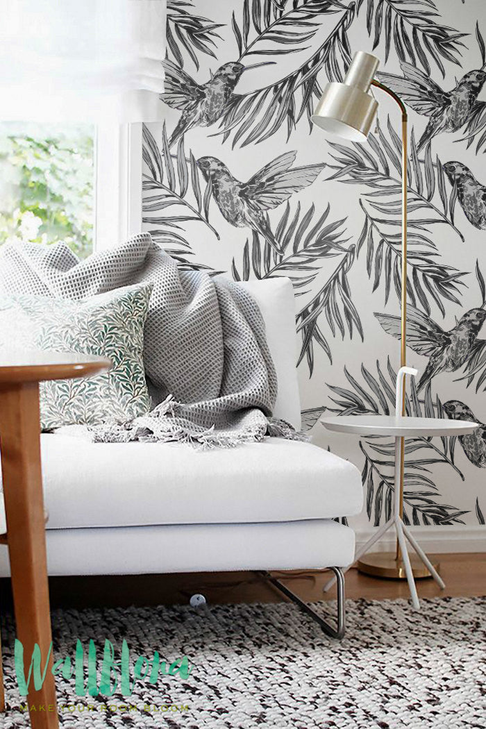 BLACK AND WHITE BIRDS REMOVABLE WALLPAPER