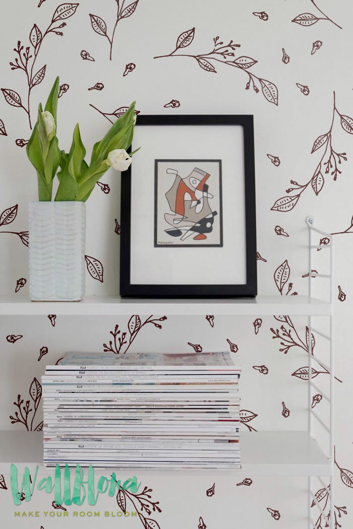 HERBS PATTERN REMOVABLE WALLPAPER