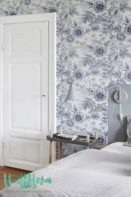 BLUE FLORAL REMOVABLE WALLPAPER