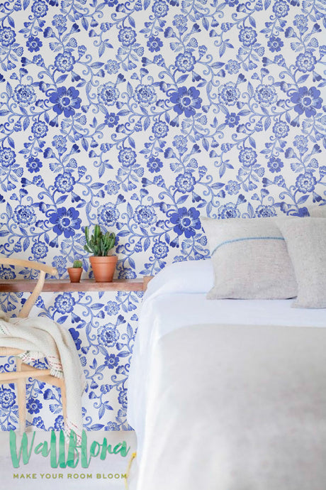 NAUTICAL FLORAL PELL AND STICK WALLPAPER