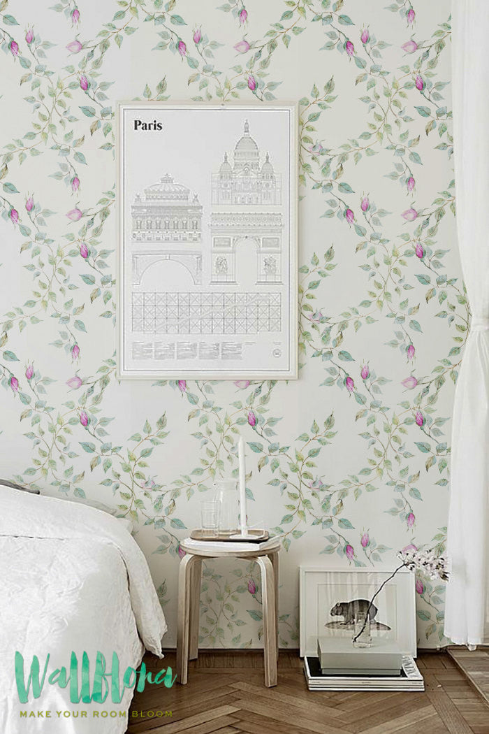 ROSE BUDS REMOVABLE WALLPAPER FOR BEDROOM