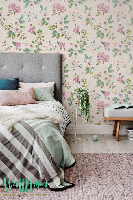 PEONIES REMOVABLE WALLPAPER FOR BEDROOM