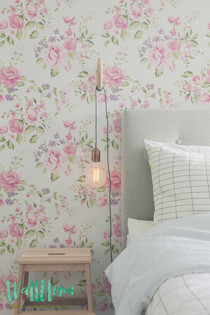 pink roses removable wallpaper for bedroom