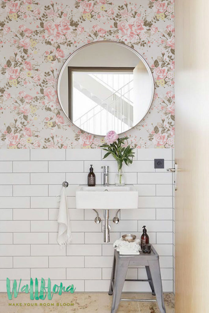 rose peel and stick removable wallpaper for bathroom