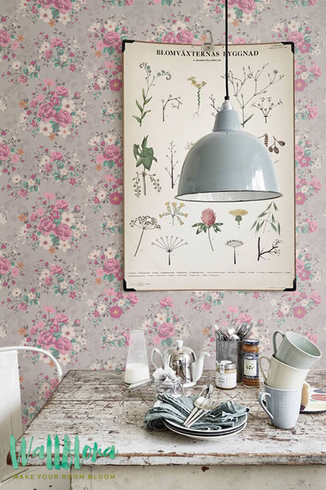 VINTAGE FLORAL REMOVABLE WALLPAPER