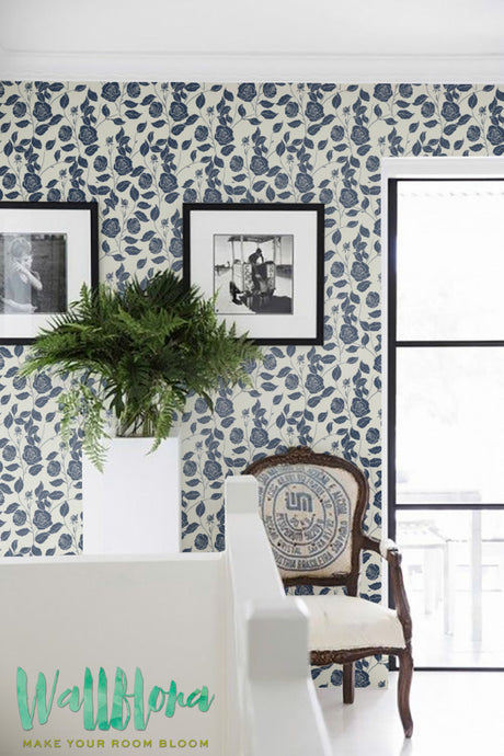 blue garden roses wallpaper for living room