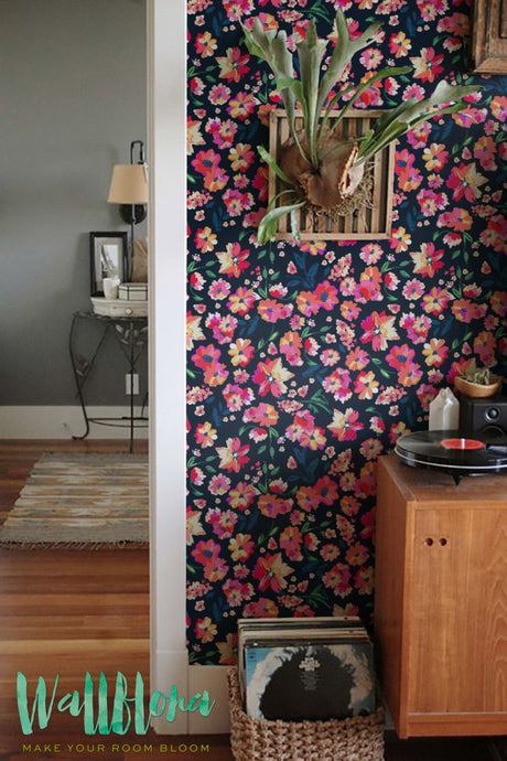 PAINTED COLORFUL FLOWER PATTERN TEMPORARY WALLPAPER - THE MULTI-HUED WALL DECOR