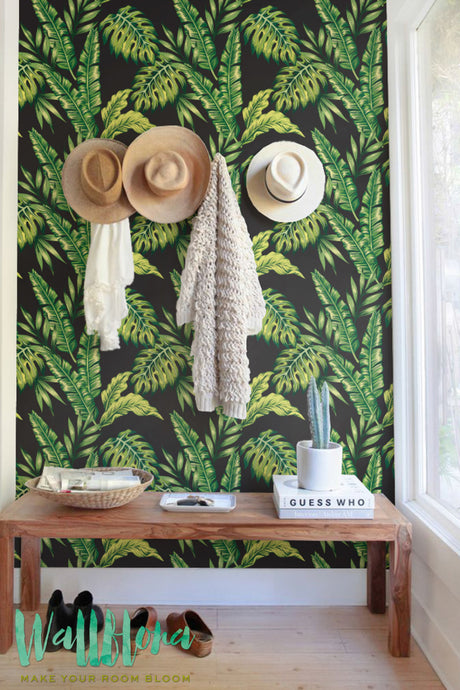 MONSTERA AND CYCA LEAVES REMOVABLE WALLPAPER- SIMPLE YET TRENDY WAY TO DECORATE YOUR WALLS