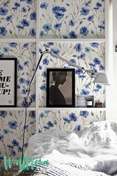 BLUE CORNFLOWER REMOVABLE WALLPAPER