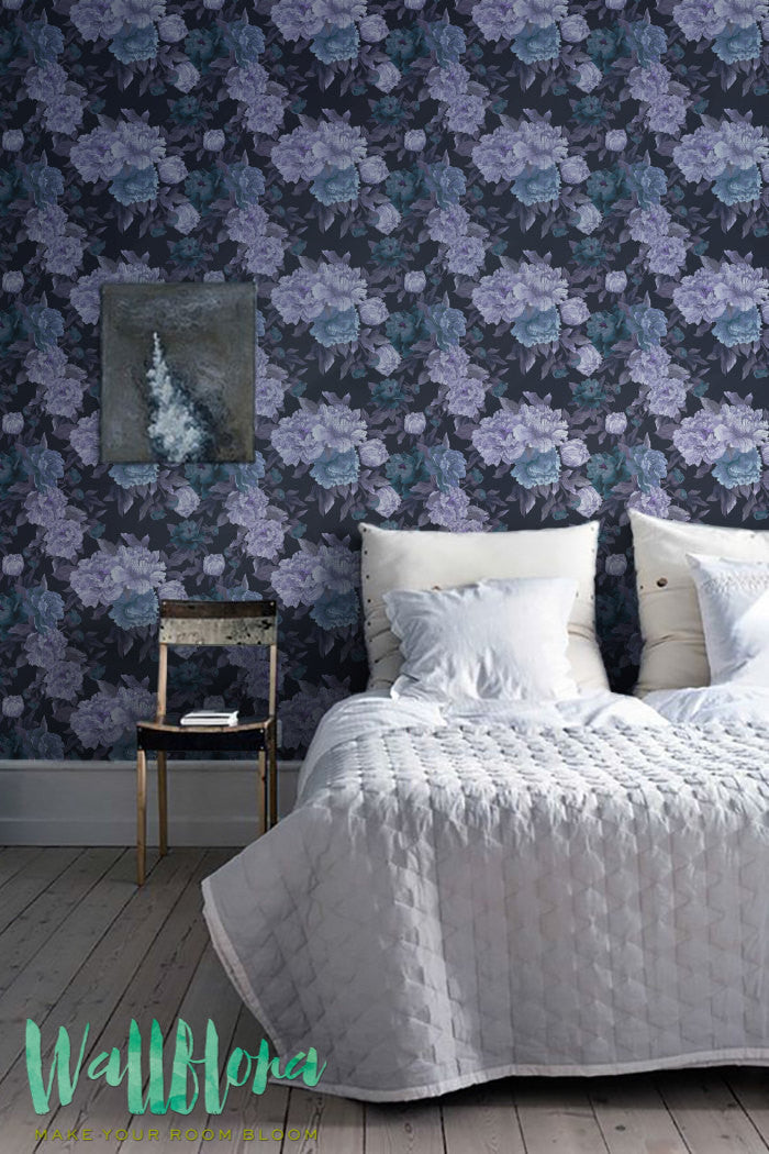 dark floral removable wallpaper for bedroom