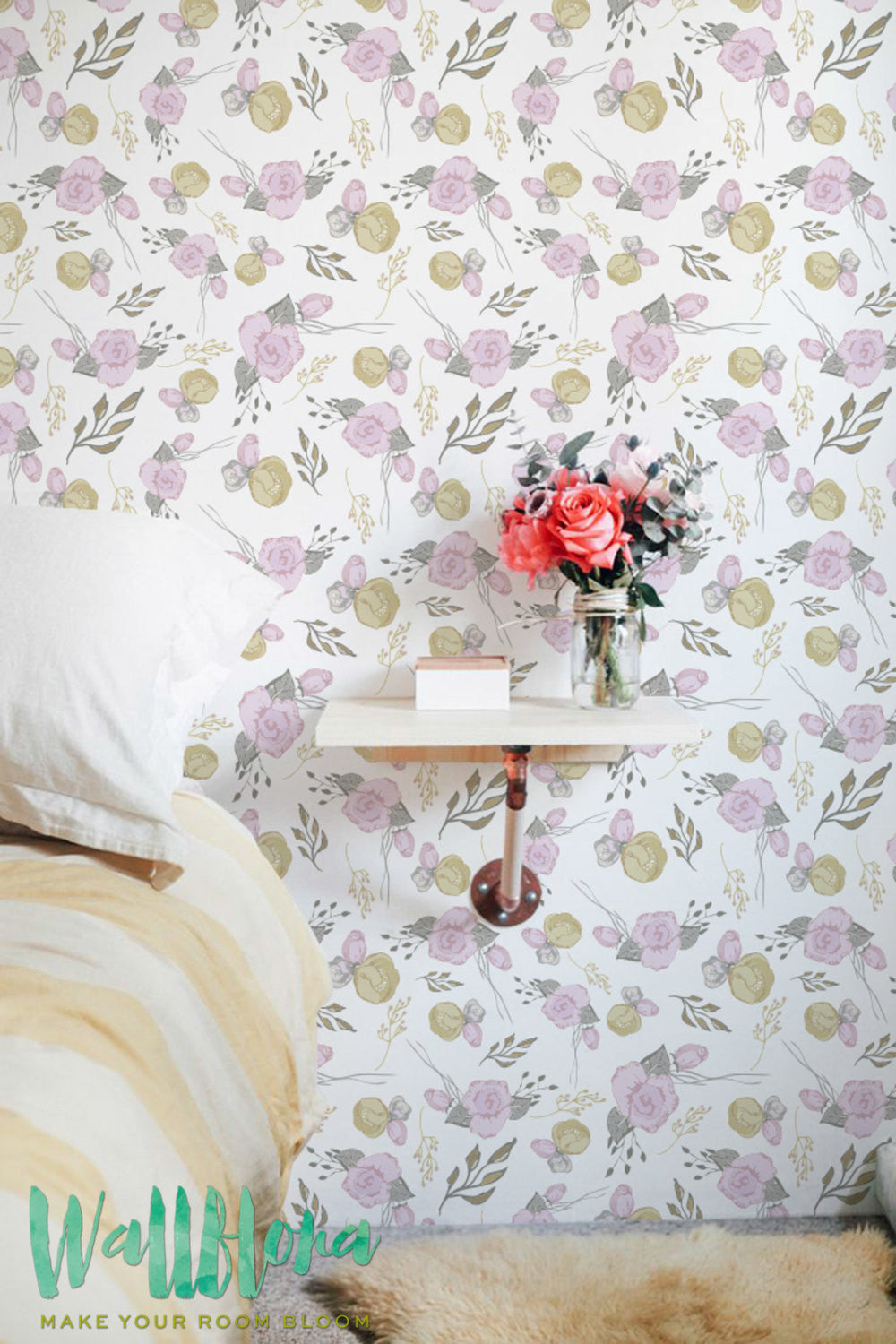 PINK FLORAL WALLPAPER FOR GIRLS BEDROOM