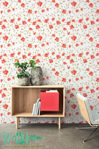 RED FLORAL REMOVABLE WALLPAPER