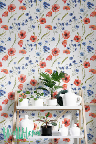 CORNFLOWER & POPPY WALLPAPER