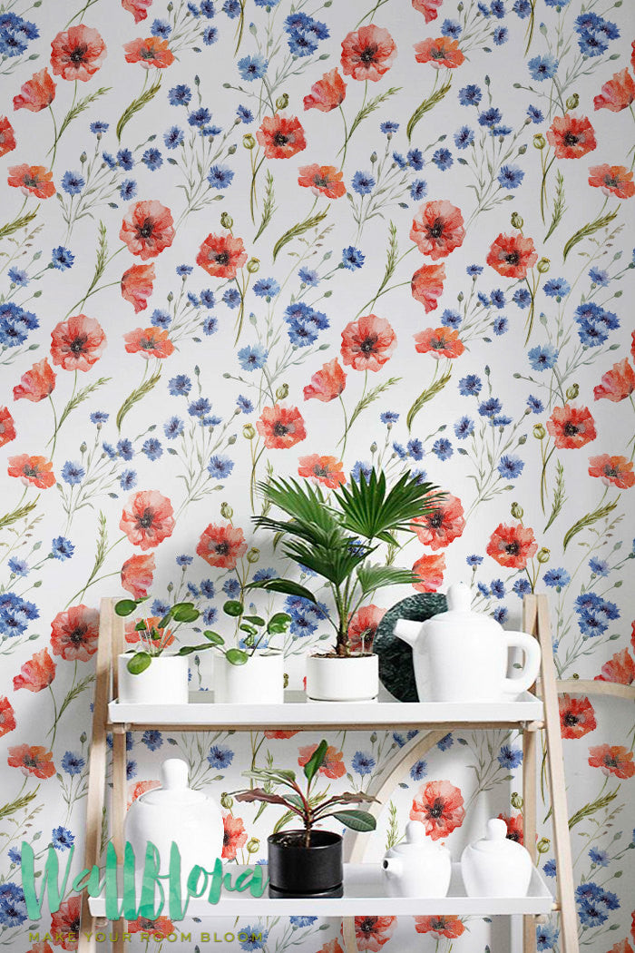 RED POPPY REMOVABLE WALLPAPER
