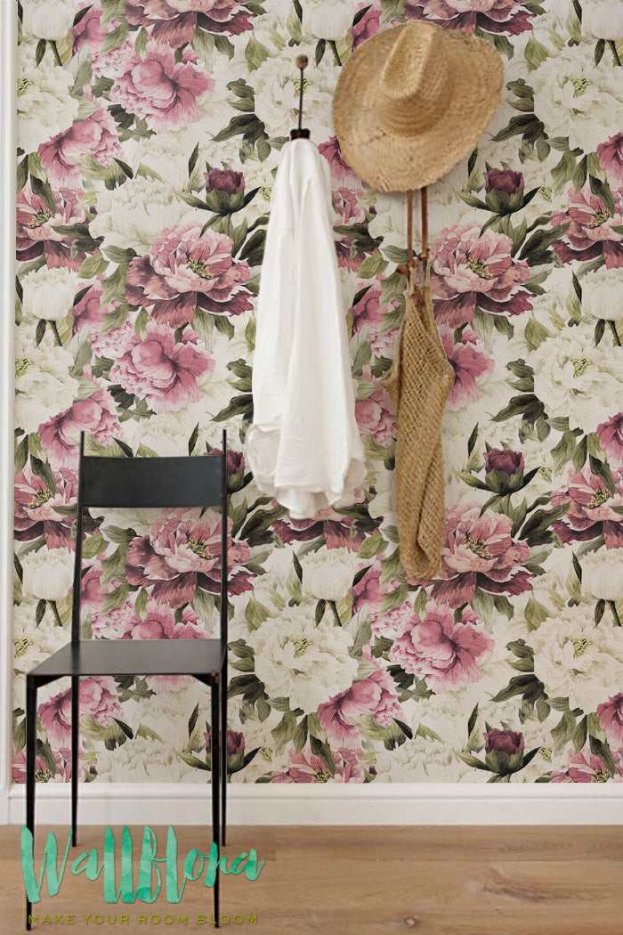 peonies pattern removable wallpaper