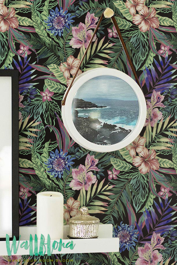 HIBISCUS, PLUMERIA AND EXOTIC LEAVES SELF-ADHESIVE WALLPAPER