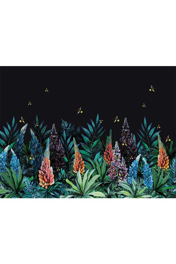 SERENE MIDNIGHT DARK FLORAL WALL MURAL