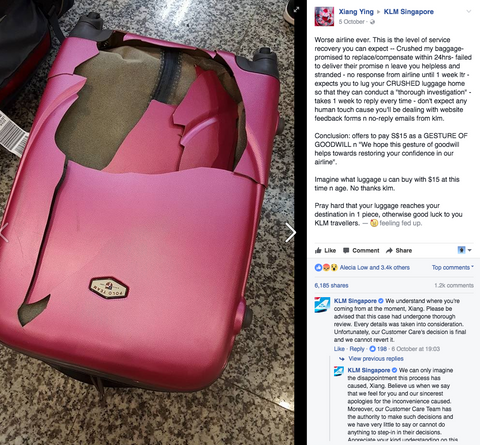Luggage Outlet Singapore - KLM incident